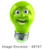 #46747 Royalty-Free (Rf) Illustration Of A Green 3d Electric Light Bulb Head Mascot Smiling - Version 2