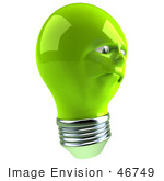 #46749 Royalty-Free (Rf) Illustration Of A Sad Green 3d Electric Light Bulb Head Mascot