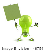 #46754 Royalty-Free (Rf) Illustration Of A Green 3d Glass Light Bulb Mascot Holding A Blank Sign On A Post - Version 2