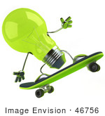 #46756 Royalty-Free (Rf) Illustration Of A Green 3d Glass Light Bulb Mascot Skateboarding - Version 3