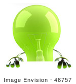 #46757 Royalty-Free (Rf) Illustration Of A Green 3d Glass Light Bulb Mascot Holding Up A Blank Sign