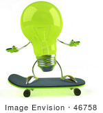 #46758 Royalty-Free (Rf) Illustration Of A Green 3d Glass Light Bulb Mascot Skateboarding - Version 1
