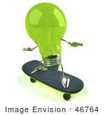 #46764 Royalty-Free (Rf) Illustration Of A Green 3d Glass Light Bulb Mascot Skateboarding - Version 2
