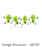 #46767 Royalty-Free (Rf) Illustration Of A Row Of Green 3d Glass Light Bulb Mascots Leaping - Version 2