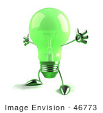#46773 Royalty-Free (Rf) Illustration Of A Green 3d Glass Light Bulb Mascot Holding His Arms Out - Version 3