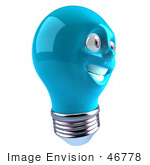#46778 Royalty-Free (Rf) Illustration Of A Blue 3d Electric Light Bulb Head Mascot Smiling - Version 3