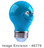 #46779 Royalty-Free (Rf) Illustration Of A Blue 3d Electric Light Bulb Head Mascot Smiling - Version 5