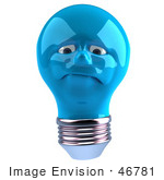 #46781 Royalty-Free (Rf) Illustration Of A Grumpy Blue 3d Electric Light Bulb Head Mascot