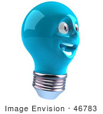 #46783 Royalty-Free (Rf) Illustration Of A Blue 3d Electric Light Bulb Head Mascot Smiling - Version 4
