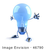 #46790 Royalty-Free (Rf) Illustration Of A Blue 3d Glass Light Bulb Mascot Holding His Arms Out - Version 1