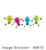 #46810 Royalty-Free (Rf) Illustration Of A Row Of Colorful 3d Glass Light Bulb Mascots Leaping