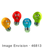#46813 Royalty-Free (Rf) Illustration Of A Group Of Happy Colorful 3d Electric Light Bulb Head Mascots