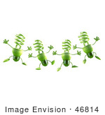 #46814 Royalty-Free (Rf) Illustration Of Four Green 3d Spiral Light Bulb Mascots Leaping