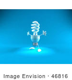 #46816 Royalty-Free (Rf) Illustration Of A Blue 3d Spiral Light Bulb Mascot Holding His Arms Open - Version 2