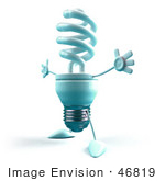 #46819 Royalty-Free (Rf) Illustration Of A Blue 3d Spiral Light Bulb Mascot Holding His Arms Open - Version 3