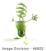 #46822 Royalty-Free (Rf) Illustration Of A Green 3d Spiral Light Bulb Mascot Holding His Arms Open - Version 4