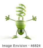 #46824 Royalty-Free (Rf) Illustration Of A Green 3d Spiral Light Bulb Mascot Holding His Arms Open - Version 3