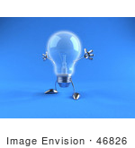 #46826 Royalty-Free (Rf) Illustration Of A 3d Glass Light Bulb Mascot Holding His Arms Out - Version 5