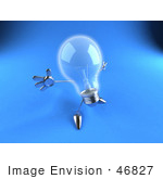 #46827 Royalty-Free (Rf) Illustration Of A 3d Glass Light Bulb Mascot Holding His Arms Out - Version 6
