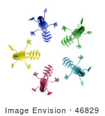 #46829 Royalty-Free (Rf) Illustration Of A Group Of Colorful 3d Spiral Light Bulb Mascots In A Circle