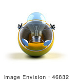#46832 Royalty-Free (Rf) Illustration Of A Blue 3d Glass Light Bulb Mascot Sitting In A Cocoon Chair - Version 1