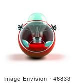 #46833 Royalty-Free (Rf) Illustration Of A Green 3d Glass Light Bulb Mascot Sitting In A Cocoon Chair - Version 1