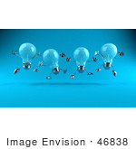#46838 Royalty-Free (Rf) Illustration Of A Row Of Blue 3d Glass Light Bulb Mascots Leaping - Version 1
