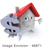 #46871 Royalty-Free (Rf) Illustration Of A 3d White Clay House Mascot Holding A Dollar Symbol - Version 1