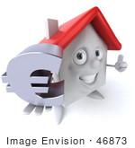 #46873 Royalty-Free (Rf) Illustration Of A 3d White Clay House Mascot Holding A Euro Symbol - Version 1