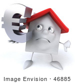 #46885 Royalty-Free (Rf) Illustration Of A 3d White Clay House Mascot Holding A Euro Symbol - Version 2