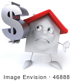 #46888 Royalty-Free (Rf) Illustration Of A 3d White Clay House Mascot Holding A Dollar Symbol - Version 2