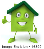#46895 Royalty-Free (Rf) Illustration Of A 3d Green Clay House Mascot Holding His Thumb Up