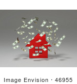 #46955 Royalty-Free (Rf) Illustration Of Money Falling Down Around A 3d Red House - Version 2