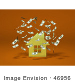 #46956 Royalty-Free (Rf) Illustration Of Money Falling Down Around A 3d Yellow House - Version 2