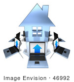 #46992 Royalty-Free (Rf) Illustration Of 3d Laptops Circling A Blue House