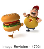 #47021 Royalty-Free (Rf) Illustration Of A 3d Fat Burger Boy Mascot Chasing A Cheeseburger - Version 2