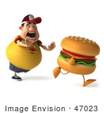 #47023 Royalty-Free (Rf) Illustration Of A 3d Fat Burger Boy Mascot Chasing A Cheeseburger - Version 1