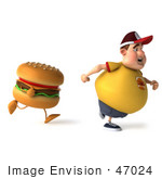 #47024 Royalty-Free (Rf) Illustration Of A 3d Fat Burger Boy Mascot Running From A Cheeseburger - Version 1