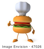 #47026 Royalty-Free (Rf) Illustration Of A 3d Cheeseburger Mascot Giving The Thumbs Up And Wearing A Chef Hat