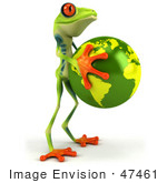 #47461 Royalty-Free (Rf) Illustration Of A 3d Tree Frog Holding The Earth - Pose 2