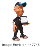 #47746 Royalty-Free (Rf) Illustration Of A 3d White Boy Holding A Laptop - Version 1