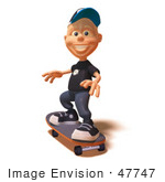 #47747 Royalty-Free (Rf) Illustration Of A 3d White Boy Skateboarding - Version 2