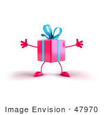 #47970 Royalty-Free (Rf) Illustration Of A 3d Pink Present Mascot With Open Arms