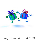 #47999 Royalty-Free (Rf) Illustration Of Two 3d Present Mascots Jumping - Version 2