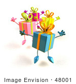 #48001 Royalty-Free (Rf) Illustration Of A Group Of Four 3d Present Mascots Leaping - Version 1