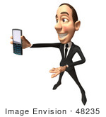 #48235 Royalty-Free (Rf) Illustration Of A 3d White Collar Businessman Mascot Holding A Cell Phone - Version 8