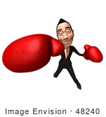 #48240 Royalty-Free (Rf) Illustration Of A 3d White Collar Businessman Mascot Boxing - Version 6