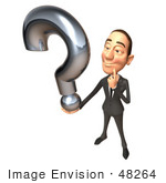 #48264 Royalty-Free (Rf) Illustration Of A 3d White Collar Businessman Mascot Holding A Question Mark - Version 1