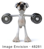 #48281 Royalty-Free (Rf) Illustration Of A 3d Jack Russell Terrier Dog Mascot Weghtlifting With Dumbbells - Version 2