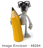#48294 Royalty-Free (Rf) Illustration Of A 3d Jack Russell Terrier Dog Mascot With A Pencil - Pose 1
